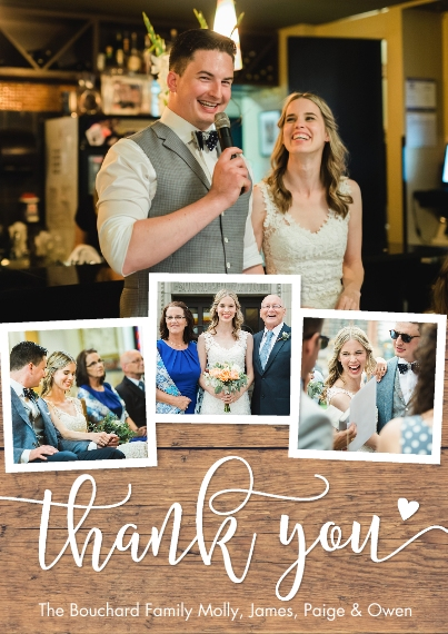 Wedding Thank You 5x7 Cards, Premium Cardstock 120lb with Scalloped Corners, Card & Stationery -Thank You Heart