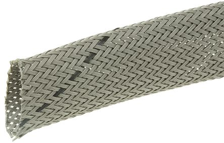 HellermannTyton Expandable Braided PET Grey Cable Sleeve, 18mm Diameter, 10m Length (10)