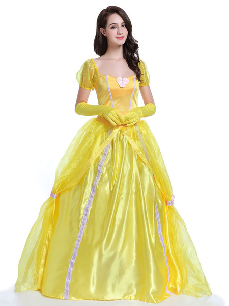 Milanoo Halloween Sexy Costume Princess Yellow Women Costume Outfit Dresses And Gloves