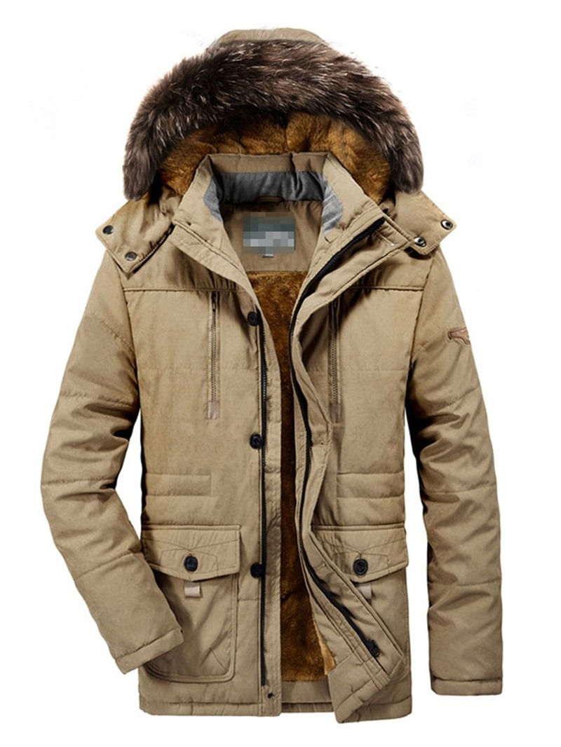 Ericdress Plain Casual Plain Mid-Length Hooded Men's Down Jacket