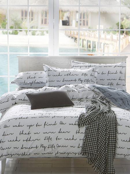 Milanoo Bedding Set Modern 3-Piece Polyester Fiber White Letters Printed Bedding
