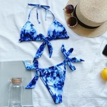 Bikini Badeanzug mit Batik und seitlichem Band