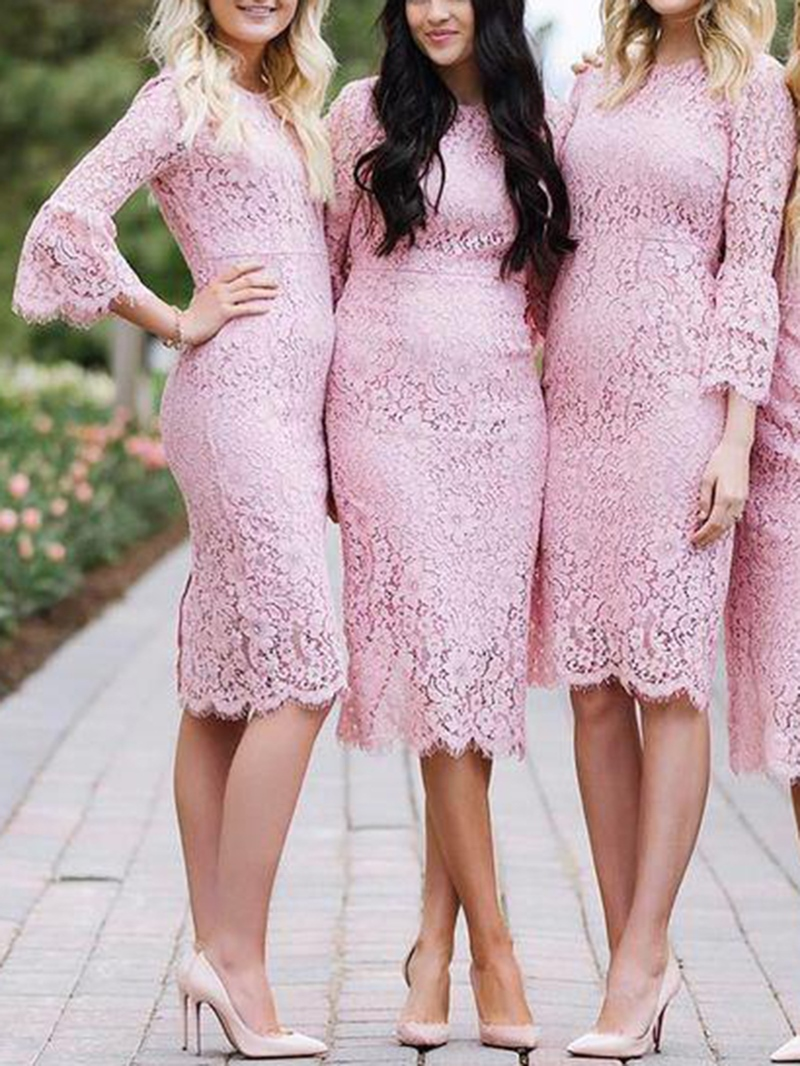Ericdress Knee-Length 3/4 Length Sleeves Lace Bridesmaid Dress