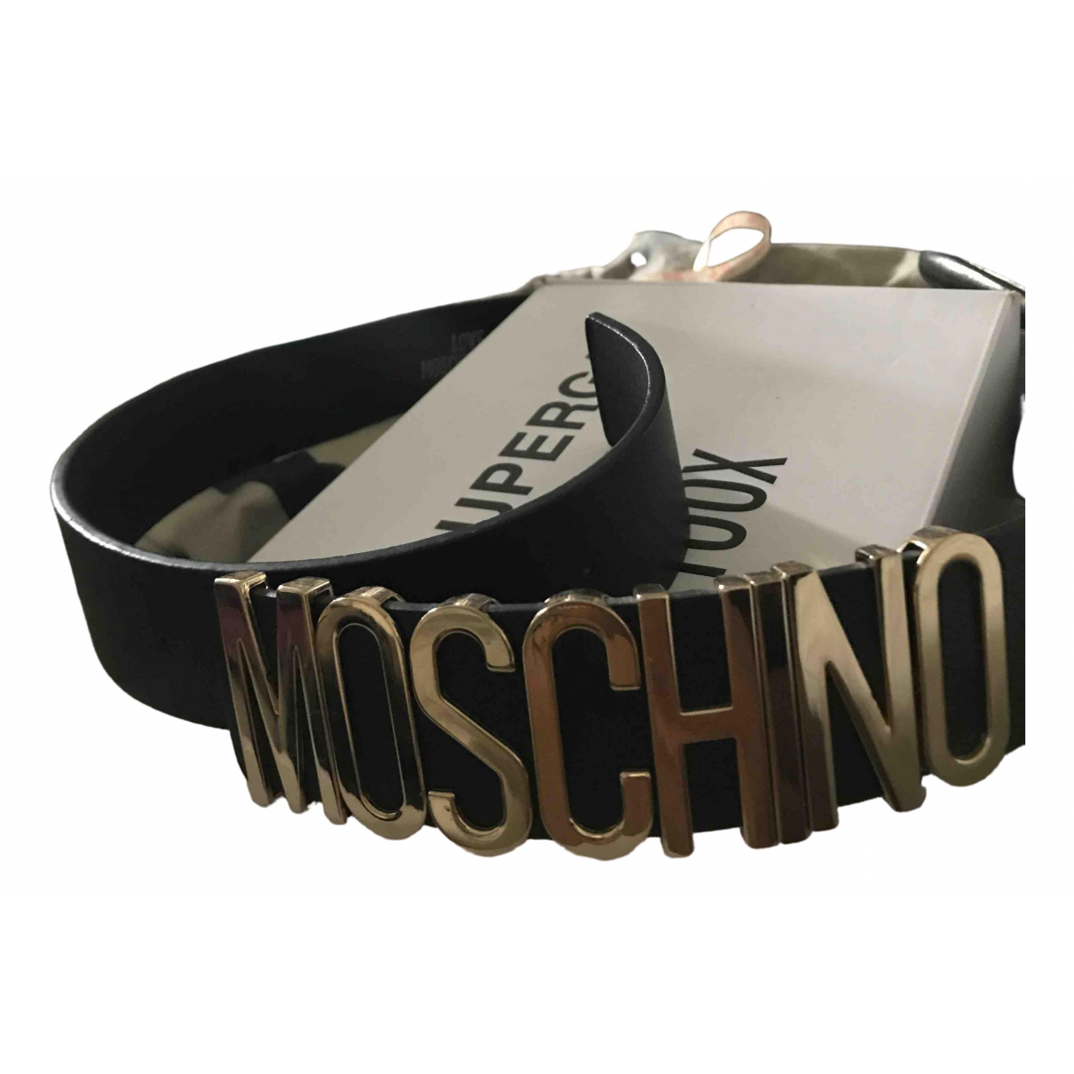 Moschino Love \N Black Leather belt for Men 39 Inches