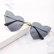 Rimless Heart Frame Sunglasses