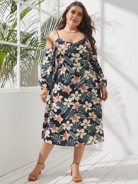 YOINS Plus Size Cold Shoulder Floral Print Long Sleeves Dress