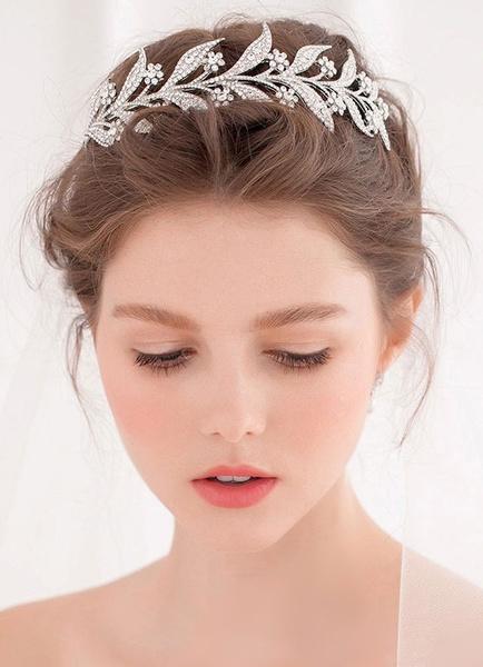 Milanoo Silver Wedding Headpieces Leaf Headband Alloy Bridal Hair Accessories