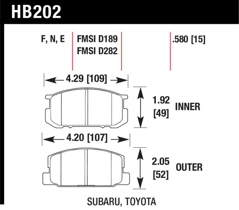 Hawk Performance HB202F.580 Disc Brake Pad Toyota Corolla Front 1985-1987 1.6L 4-Cyl