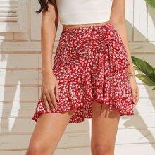 Ditsy Floral Drawstring Ruffle Hem Skirt