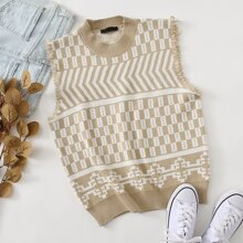 Raw Edge Chevron & Geometric Sweater Vest