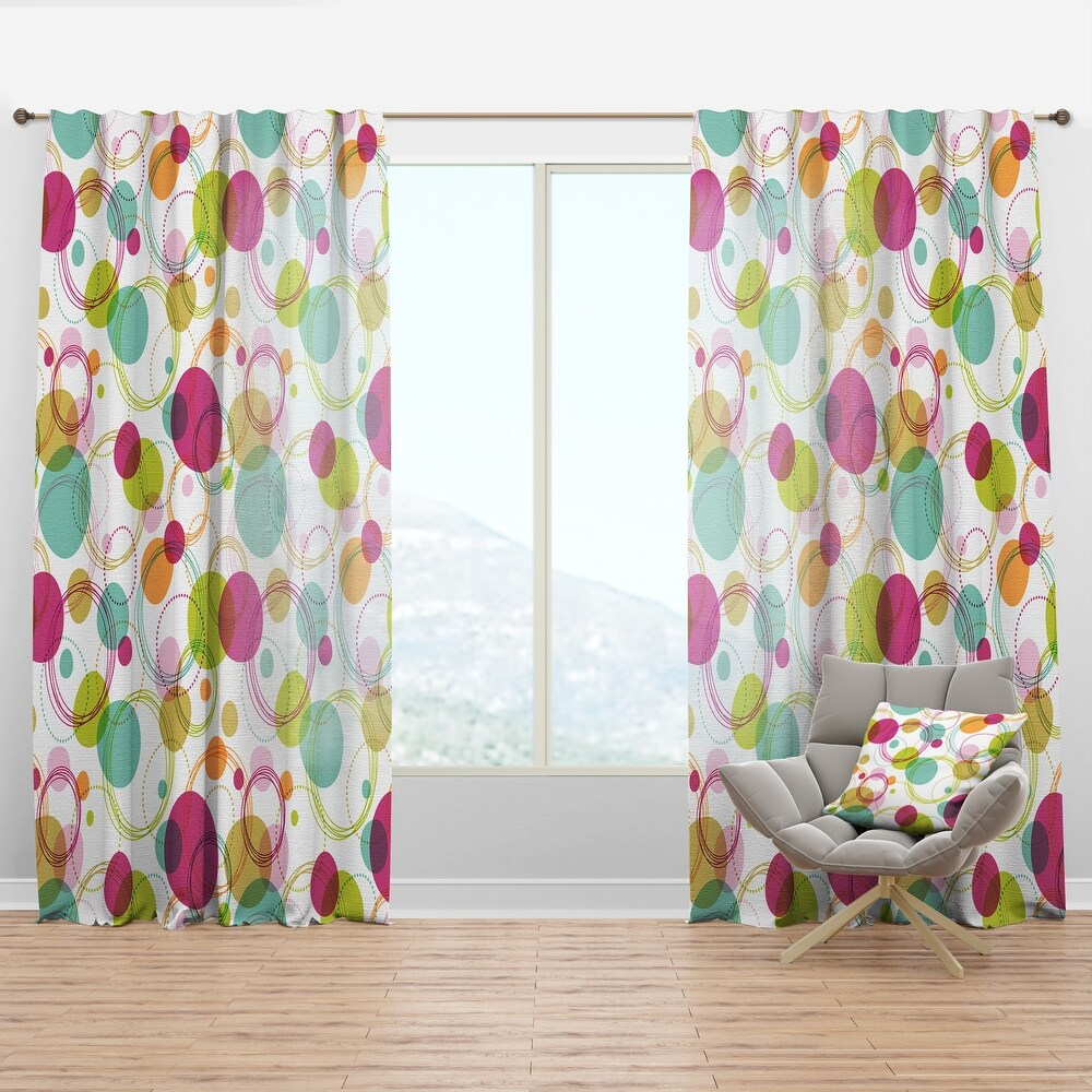 Designart 'Retro Circular Design II' Mid-Century Modern Curtain Panel (50 in. wide x 63 in. high - 1 Panel)