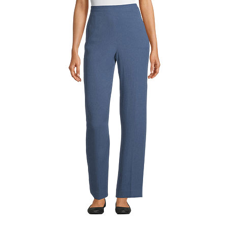 Alfred Dunner Palo Alto Womens Straight Flat Front Pant, 18 Petite , Blue