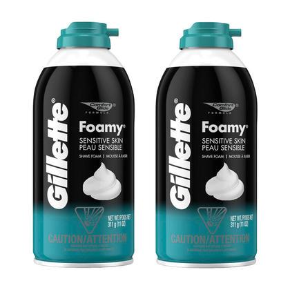 Gillette Foamy Sensitive Skin Shaving Cream 311g - 2/Pack