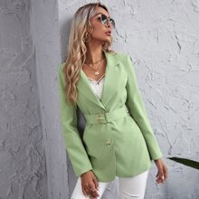 Lapel Neck Single Breasted Belted Blazer