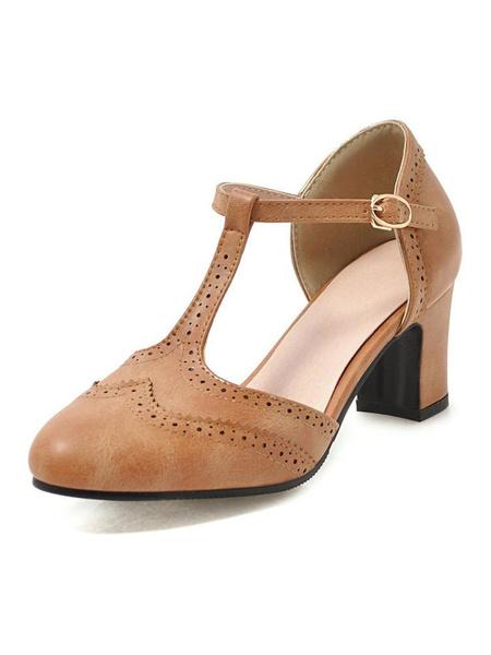 Milanoo Woman\'s Mid-Low Heels Almond Toe Chunky Heel T-Type Bandage Vintage Pumps