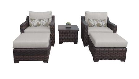 RIVER-05b-ASH Kathy Ireland Homes and Gardens River Brook 5-Piece Wicker Patio Set 05b - 2 Set of Truffle
