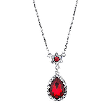Downton Abbey By 1928 Jewelry 16 Inch Link Pendant Necklace, One Size , Red
