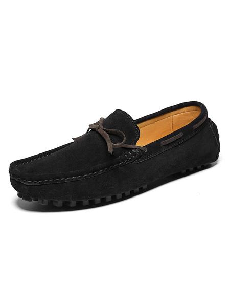Milanoo Mocasin de mocasin para hombre Zapatos nauticos Zapatos sin cordones de gamuza