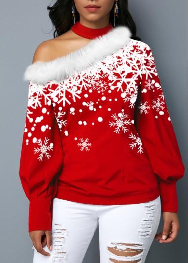Snowflake Print Fur Collar Choker Neck Blouse - L