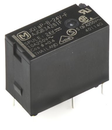 Panasonic , 24V dc Coil Non-Latching Relay SPNO, 10A Switching Current PCB Mount (5)