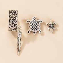 3pcs Turtle & Sword Stud Earrings & Ear Cuff