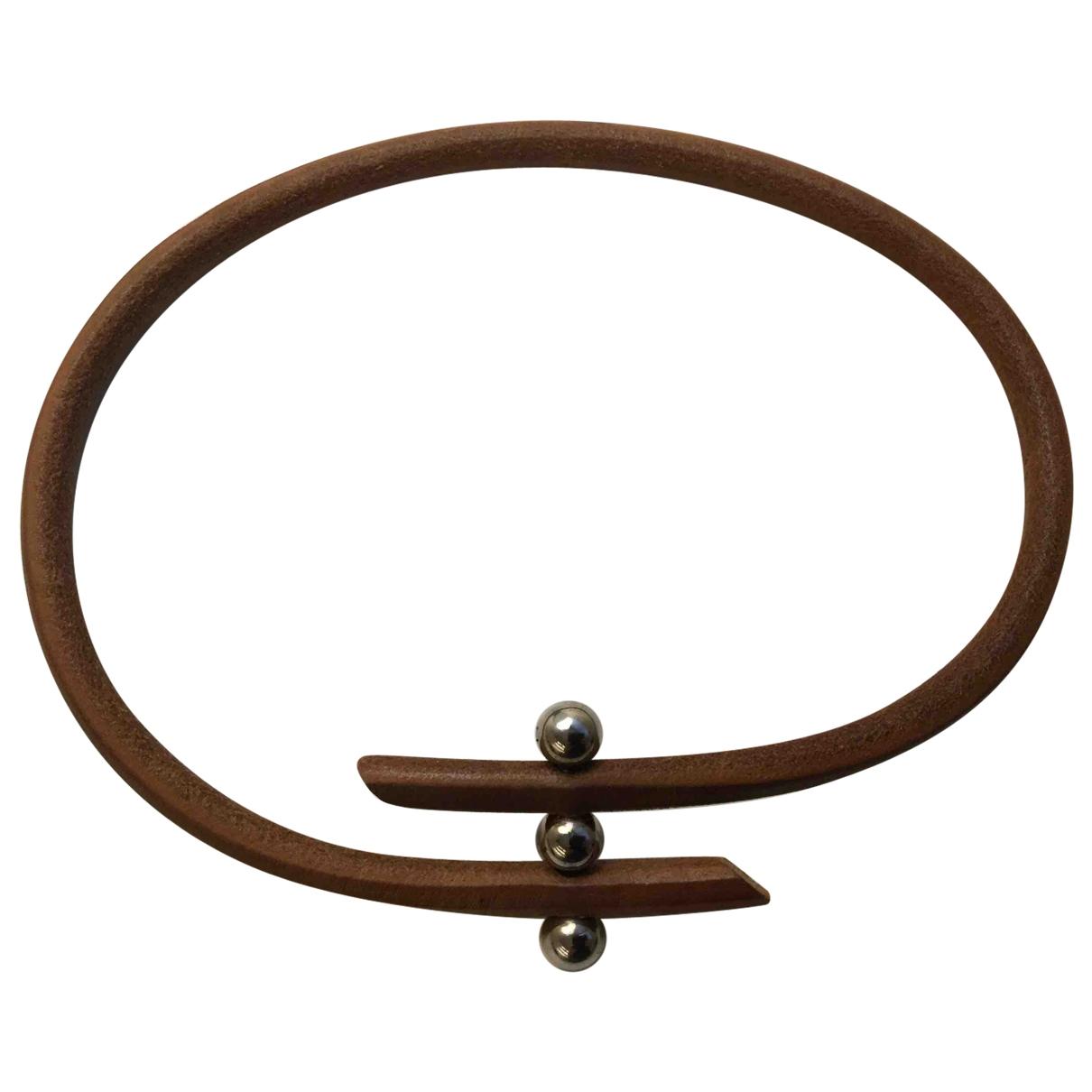 Hermes - Collier   pour femme en cuir - camel