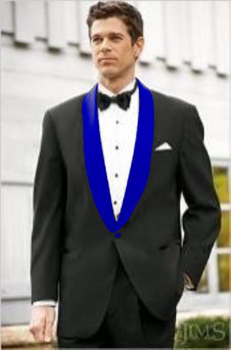 Mens Blue Shawl Lapel Single Breasted Black Suit
