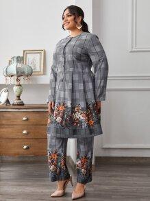 Conjunto top floral de cuadros con pantalones