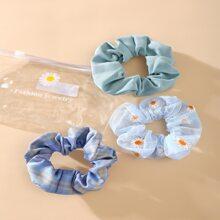 3pcs Floral & Plaid Scrunchie