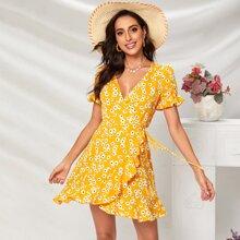 Kleid mit Raffungsaum, Wickel Design, Knoten und Bluemchen Muster