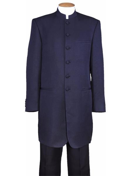Men's Mandarin Banded Collar Navy 6 Button Wool Two Piece Long Jacket