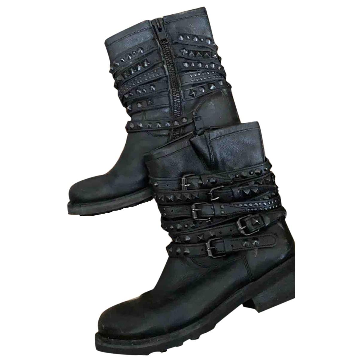 Ashish - Boots   pour femme en cuir - noir