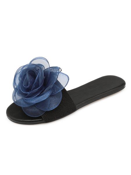 Milanoo sandalias de mujer con flores azules sandalias sin espalda