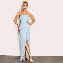Tube Kleid mit Knoten auf Taille, Wickel Design und Schlitz vorn