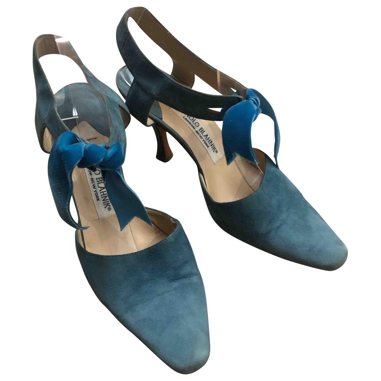 Manolo Blahnik - Escarpins   pour femme en suede - turquoise