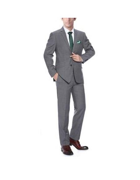 Notch Lapel Dark Grey Single Breasted Classic Fit wool Suit