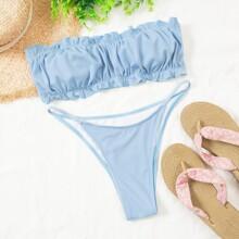 Bandeau Bikini Badeanzug mit Rueschenbesatz