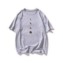 T-Shirt mit Mond Muster und rundem Kragen