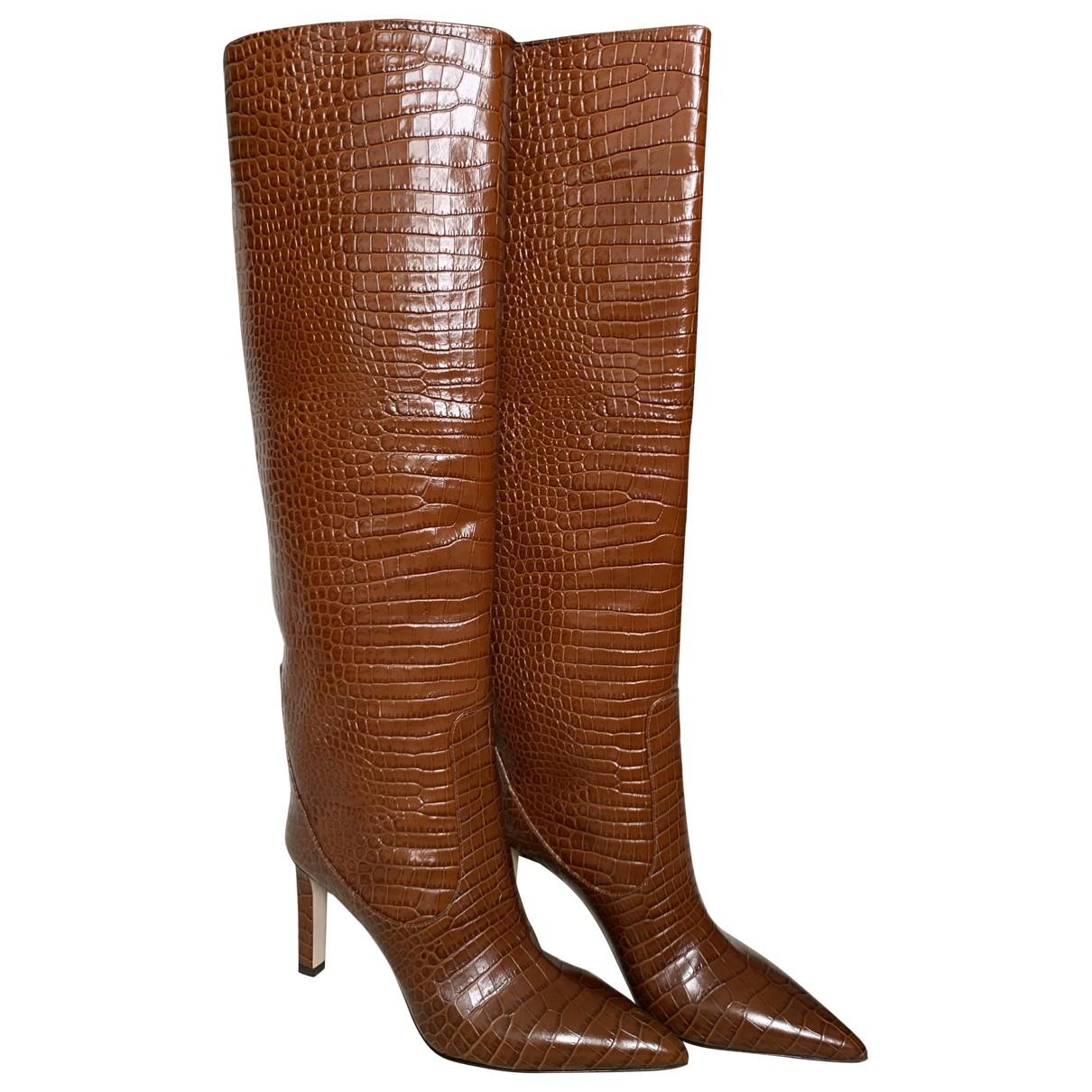 Jimmy Choo Mavis Brown Leather Boots for Women 37 EU