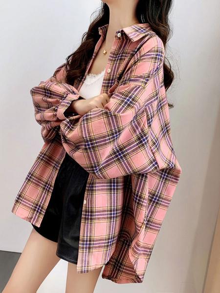 Milanoo Shirt For Women Pink Plaid Turndown Collar Long Sleeves Cotton Shirts