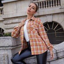 Single Breasted Flap Pocket Plaid Tweed Coat
