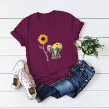 T-Shirt mit Elefant und Buchstaben Grafik und kurzen Ärmeln