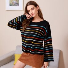 Drop Shoulder Colorful Stripe Sweater