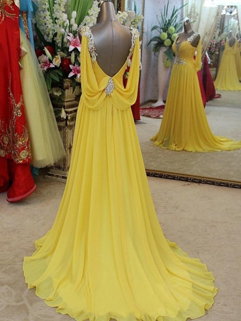 Ericdress Straps Pleats Beading Low Back Prom Dress
