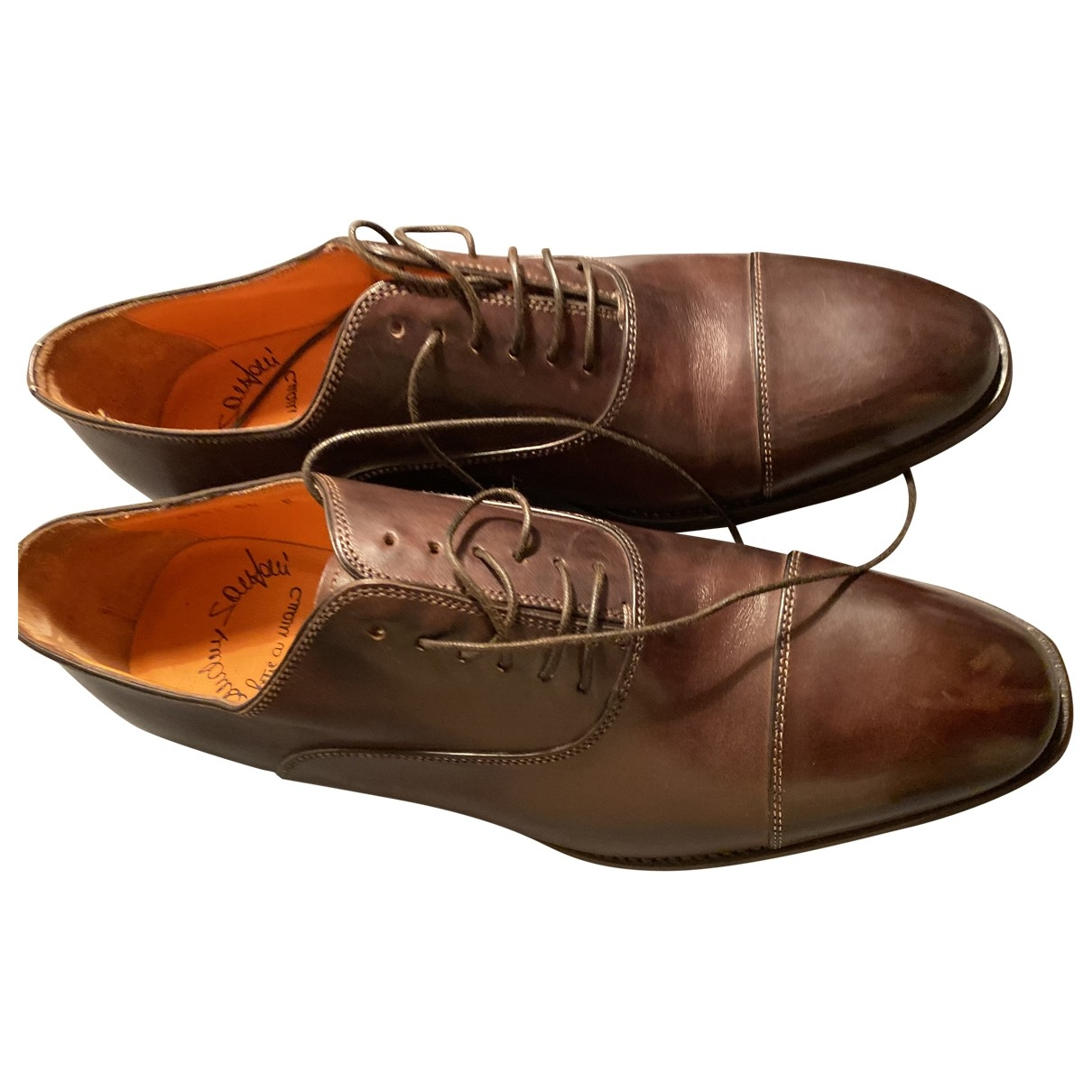 Santoni \N Camel Leather Lace ups for Men 7 UK