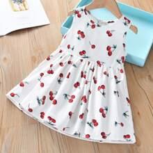Toddler Girls Cherry Print A-line Dress