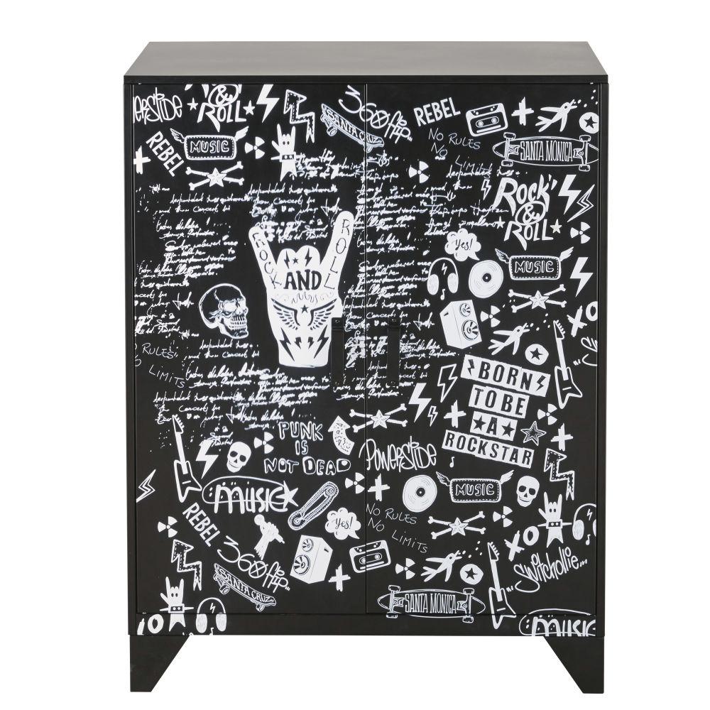 Schraenkchen mit 2 Tueren aus schwarzem Metall, bedruckt Rebel