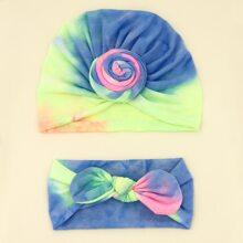 Baby Tie Dye Pattern Turban Hat & Headband