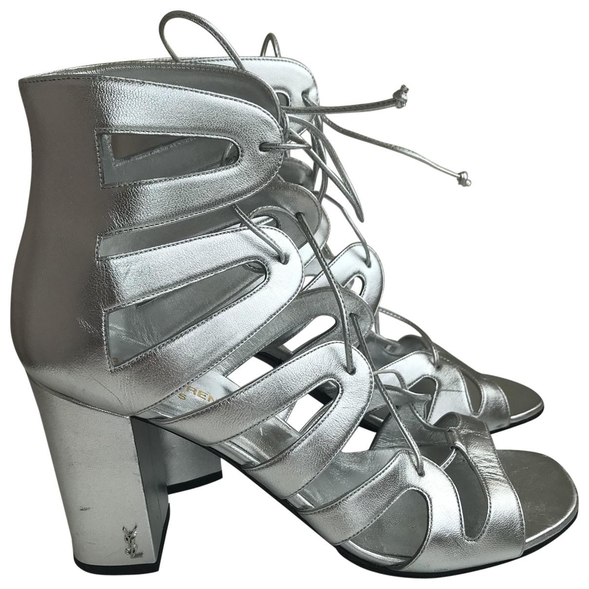 Saint Laurent \N Silver Leather Sandals for Women 40 EU