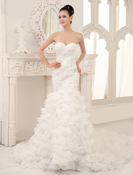Milanoo Ivory Glamorous Mermaid Organza Chapel Train Sweetheart Neck Wedding Dress with Applique